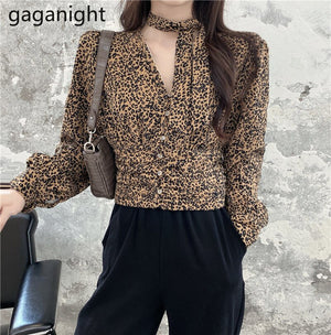 Gaganight Sexy Women Leopard Blouse Fashion Long Sleeve V Neck Shirt Vintage Spring Autumn Blusas Cropped Shirts  Dropshipping
