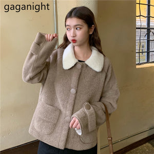 Gaganight Spring Autumn Women Fuzzy Coat Long Sleeve Single Breasted Fashion Solid Outwear Jacket Sweet Girls Loose Coats Tops