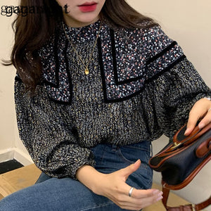 Gaganight Sweet Women Floral Blouse Long Sleeve Stand Collar Chic Korean Shirt Girls Casual Loose Spring Autumn Blusas 2020 New