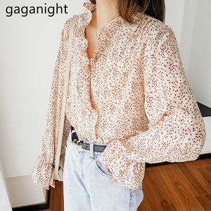 Gaganight Sweet Women Japan Style Blouse Chiffon Long Sleeve Ruffles Chic Lady Plus Size Shirt Elegant Tops Outwear Blusas 2020