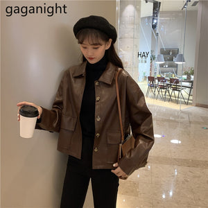Gaganight Vintage Fashion Women PU Leather Jacket Crop Motorcycle Jackets Lady Spring Autumn Chic Outwear Coat  Top Dropshipping