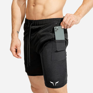 Summer new men's sports shorts 2 in 1 safety pocket sexy running shorts men's double layer breathable fitness training pants