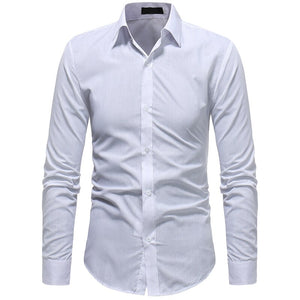 2020 New Fashion Cotton Long Sleeve Shirt Solid Slim Fit Male Social Casual Business White Black Shirt  Men Shirts