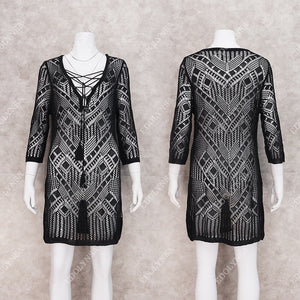 2020 Crochet Black Knitted Beach Cover up dress Tunic Long Pareos Bikinis Cover ups Swim Cover up Robe Plage Beachwear #Q861