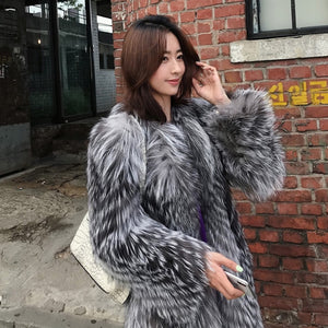 HIGH QUALITY Winter Gradient Hairy Shaggy Faux Fox Fur Coat Long sleeve Furry Fur Women Long Jacket Trench Outerwear Stay Warm