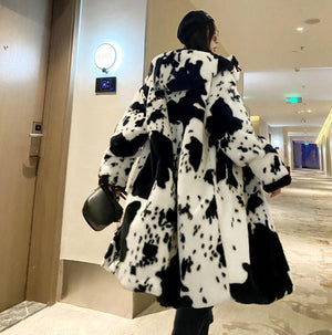 HIGH QUALITY Winter Hooded Hairy Shaggy Tuscan Cow Leopard Fur Long Coat Long Sleeve Furry Women Jacket Long Trench Outerwear