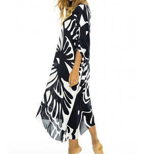New Plus size Beach Cover up Swimsuit cover up Womens Cotton Beach Dress Print Bathing suit Cover ups Pareo Beach Vestidos Play
