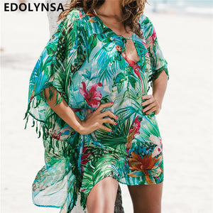 2020 Tunic for Beach Bathing suit cover ups Chiffon Beach Dress Women Beachwear Bikini cover up Saida de Praia #Q523