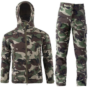 TAD Gear Tactical Softshell Camouflage Jacket Set Men Army Windbreaker Waterproof HuntingClothes Set Military Jacket andPants