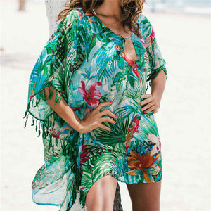 2020 Tunic for Beach Bathing suit cover ups Chiffon Beach Dress Women Beachwear Bikini cover up Saida de Praia #Q523 (Multi One Size)