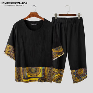 INCERUN 2020 Chinese Style Men Sets Print Patchwork Vintage Cotton 3/4 Sleeve Shirt Calf Length Pants Streetwear Casual Men Suit