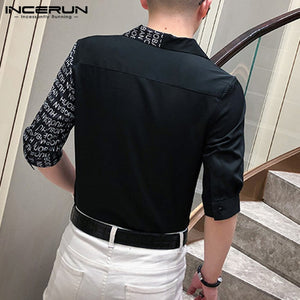 INCERUN Fashion Men Shirt Printed Patchwork Lapel Button Half Sleeve Blouse Streetwear Korean Style Brand camisa masculina 2020