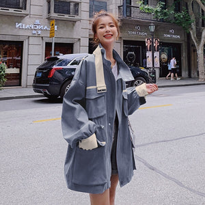 LANMREM 2020 Korean style overalls women's autumn 2020 loose big pocket turn-down collar short fit and flare waist coat 2A200