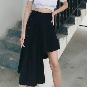 LANMREM 2020 irregular fold black mini skirt for famale pleated suit fabric fashionable ddesign skirt 2020 new Asymmetric YJ464