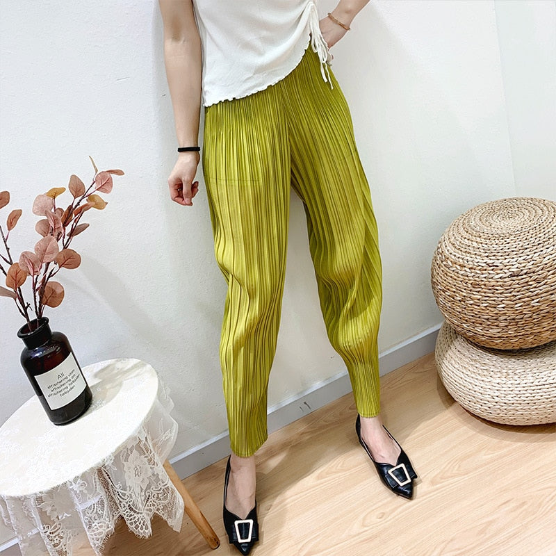 LANMREM 2020 loose casual pleated Harlan pants for women summer tide new lantern pants ankle-length pants famale stretch YJ619