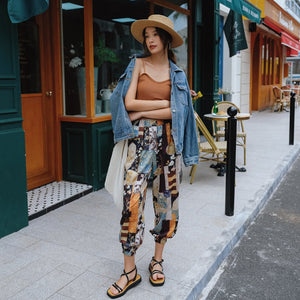 LANMREM 2020 new summer chiffon clothes high waist elastic printed loose mid calf length pants female trousers WN53509L