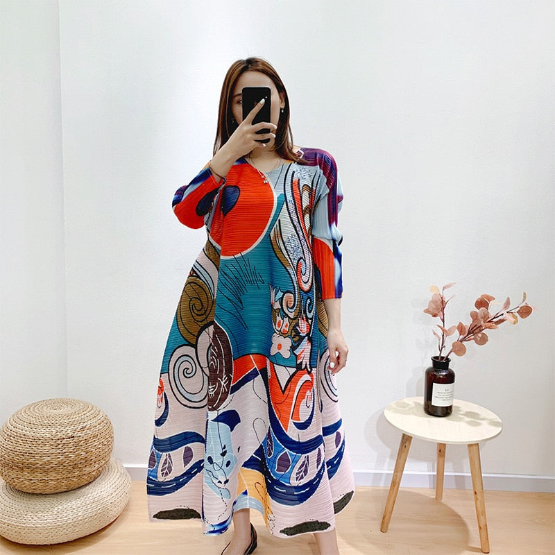 LANMREM Pleated printed dress 2020 vintage elastic fabric high round collar dress slim temperament fold clothes for famale YJ600
