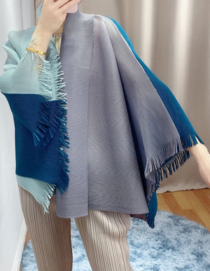 LANMREM high quality pleated coat women's color block patchwork shawl coat 2020 new summer loose large size all-match tops 2A016