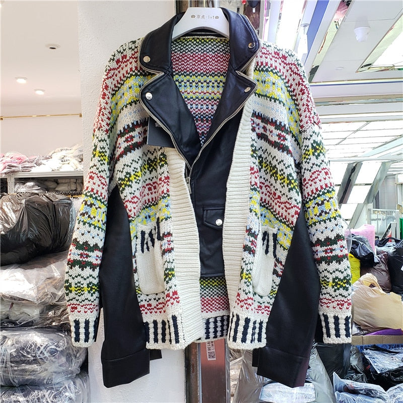LANMREM loose PU leather split knitted jackets women's 2020 Autumn New Korean style color mid-length oversize printed coat YK009