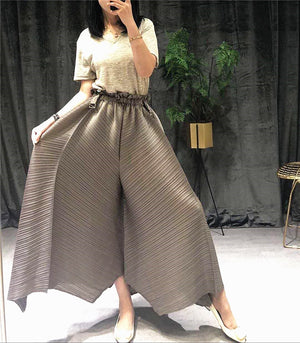 LANMREM pleated straight pants for famale 2020 autumn  new large size elastic waist pleated wide leg pants women YJ444