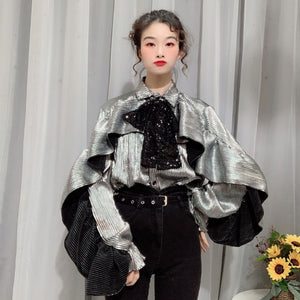LANMREM ruffles long sleeve Sequins shirt famale 2020 personalized trend flounces Double-layer collar bow tops for women YJ665