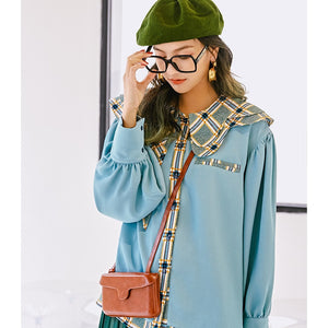 LANMREM vintage fashion loose wild temperament casual shirt spring and summer new irregular double collar shirt famale YJ386