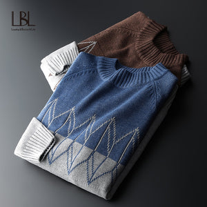 LBL 2020 Sweater Men Casual O-Neck Pullover Men Autumn Slim Fit Long Sleeve Shirt Mens Sweaters Knitted Cashmere Wool Pull Homme