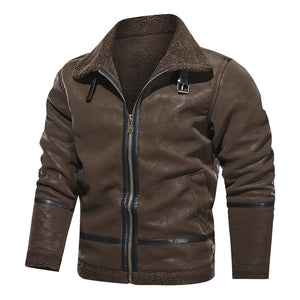 Leather Rider PU Jacket Men Casual Outwear Coat Windbreaker Motorcycle Leather Jackets Male Winter Fleece Warm Clothes EURO Size