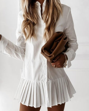 Long Sleeve White Pleated Shirt Dress 2020 Women Casual Turn Down Collar Mini Dress Button Lady A Line Office Vestidos