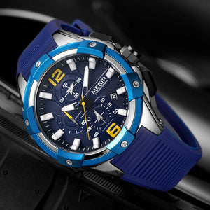 MEGIR 2020 Men's Watches Top Brand Luxury Blue Sport Watches Man Chronograph Military Quartz Wrist Watch Clock Relogio Masculino