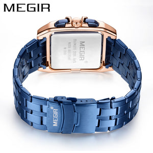 MEGIR Blue Stainless Steel Men Watch Rectangle Big Dial Business Quartz Men's Wristwatches Relogio Masculino Military Watch Man