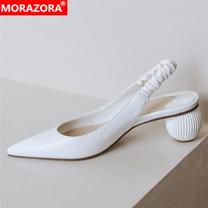 MORAZORA 2020 New arrival slingback pumps women shoes genuine leather shoes fashion pointed toe high heels shoes female