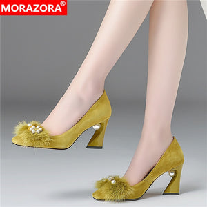MORAZORA 2020 Summer popular party wedding shoes square toe high heels women pumps top quality women shoes size 33-43