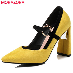 MORAZORA 2020 big size 33-46 pumps women flock pointed toe summer shoes buckle square high heels shoes ladies party shoes