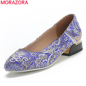 MORAZORA 2020 new arrival summer women pumps square heels pointed toe ladies shoes fashion ethnic style shallow casual shoes
