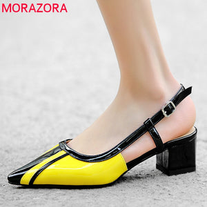 MORAZORA 2020 new fashion mixed color women pumps genuine leather shoes pointed toe summer shoes square heels dress shoes woman