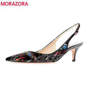 MORAZORA Plus size 35-45 New High Heels Women Pumps Pointed Toe Stilettos Fashion Graffiti High Quality Summer Ladies Shoes
