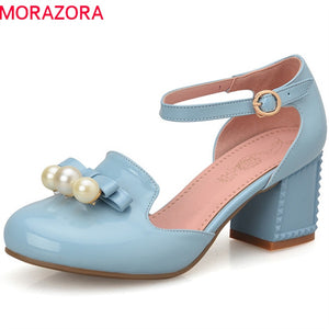 MORAZORA new fashion summer spring sweet female shoes high heels round toe with buckle square heel pumps women shoes