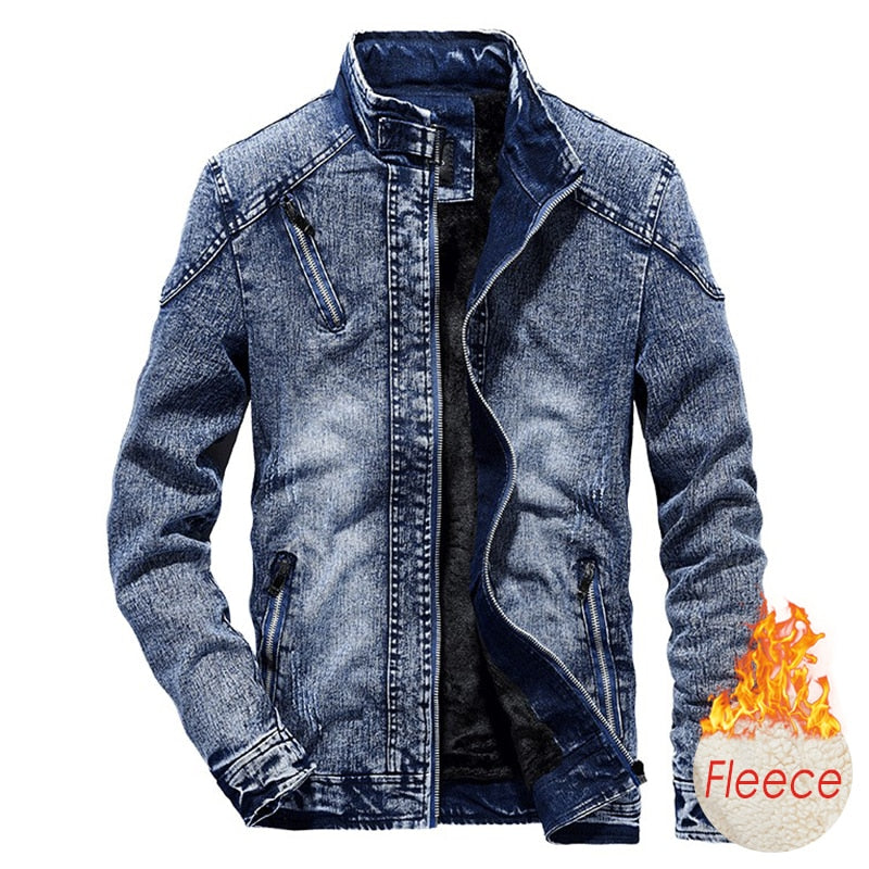 Men 2020 Winter New Cotton Fleece Denim Jeans Jacket Coat Men Autumn Style Outwear Outfits Warm Vintage Classic Washed Jackets