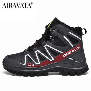 Men Outdoor Climbing Shoes Add Fluff Sports Snow Boots Keep Warm Desert Boots Combat Boots