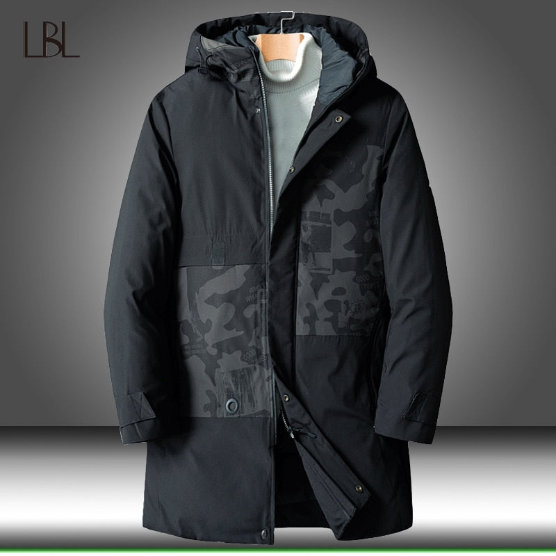 Men Parka Cotton Padded Winter Jacket Coat Mens Thicken Warm Jackets Male Camouflage Hooded Long Windbreaker -30 Degree Overcoat