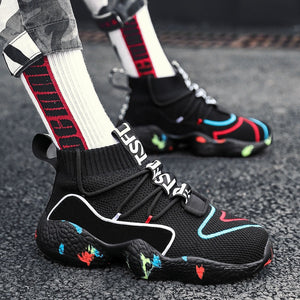 Men Running Shoes HipHop Mesh Fashion Jogging Breathable Sport Shoes Graffiti Soft Footwear Thick Sole Sock Men Sneakers 45 46