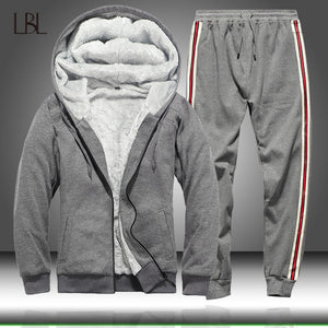 Men Tracksuit Set Winter Fleece Hooded Jacket+Pants Sweatshirts Mens 2 Piece Set Hoodies Sporting Suit Man Coat Set Sportswear