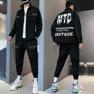 Men Tracksuit Workwear men's Hooded Jacket And Steetwear Pants 2PC Sets baseball Pullover Coat Long Pants Mens Clothing Set