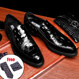 Men leather shoes business dress suit shoes men brand Bullock genuine leather black slip on wedding mens shoes Phenkang
