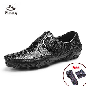 Mens Casual Shoes Genuine Leather Men Crocodile Buckle Sneakers Driving Coffee Soft Daily Pea Shoes black 2020