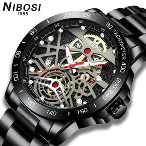 NIBOSI 2020 New Fashion men's watches Hollow-carved Design Quartz wrist watch for men waterproof sport clocks Relogio Masculino