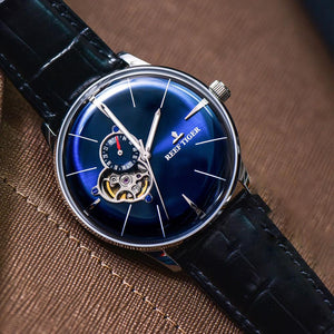 New Reef Tiger/RT Designer Casual Rose Gold Blue Dial Watches Convex Lens Automatic Watches for Men RGA8239