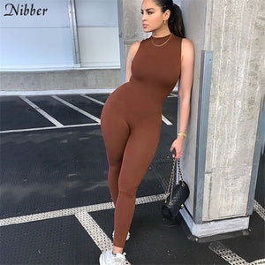 Nibber 2020 Autumn Solid Basic Black White Jumpsuit Overalls Women Street Casual Wear Sleeveless Fitness Outfit Playsuit Female