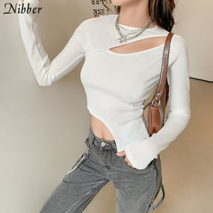 Nibber Chic Hollow Out Irregular Thsirt Y2k Top Woman Autumn Patchwork See Through Crop Top Simple Long Sleeve Casual Streetwear